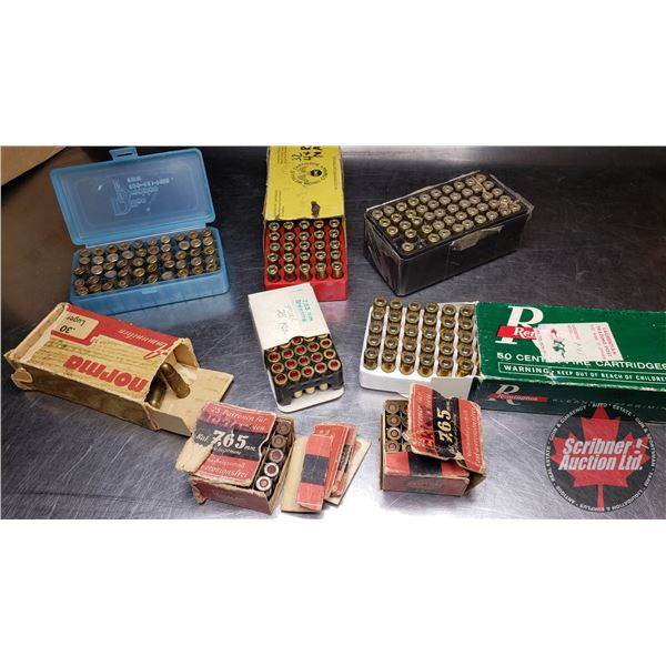 AMMO: Variety Lot (Norma 30 Luger - 22 Rnds) & (Remington 30 Luger 50 Rnds) & (7.65 Browning 25 Rnds