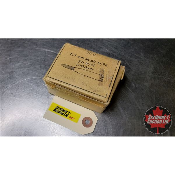 """AMMO: 6.5 x 55mm """"6,5mm sk ptr m/94"""" (20 Rnds) (NOTE: This is Vintage Ammunition)"""
