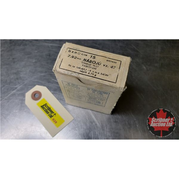 AMMO: 8mm Mauser - Made by Century Int'l Arms Ltd. by Tcheckelslovakia (15 Rnds) (NOTE: This is Vint