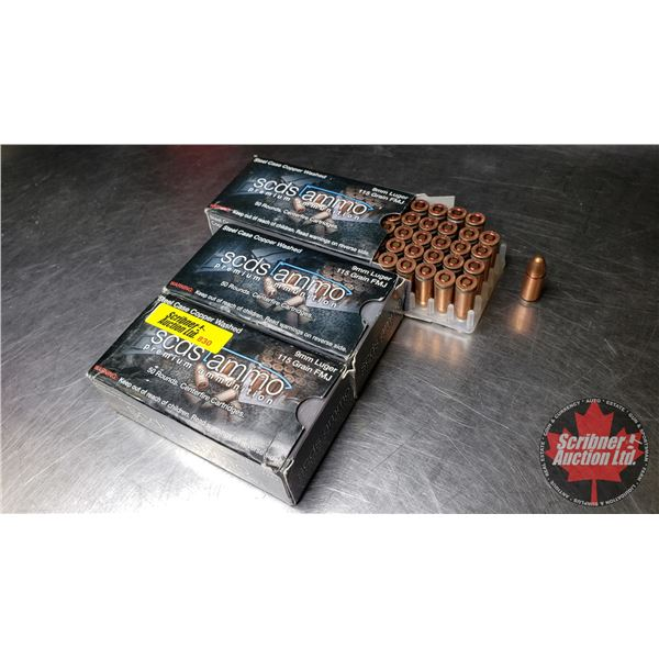AMMO: Scds Premium 9mm (3 Boxes = 150 Rnds)