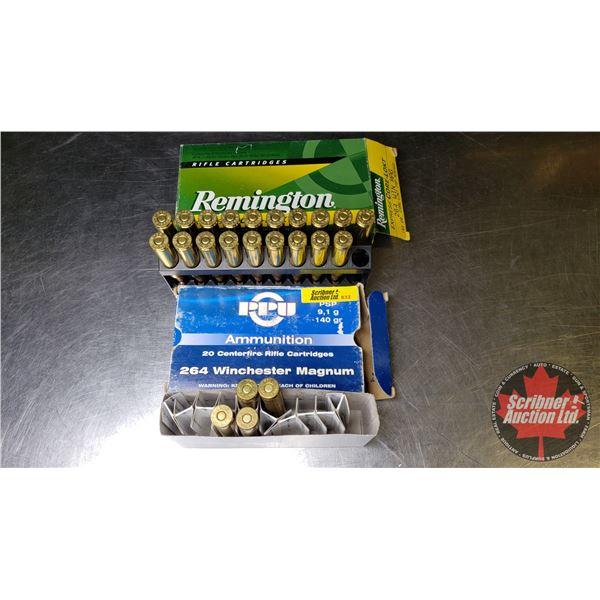 AMMO: 264 Winchester Magnum PPU (4 Rnds) & Remington Express Core-Lokt (19 Rnds)