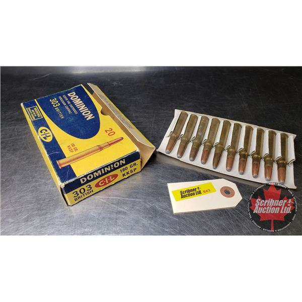 AMMO: CIL Dominion (303 British 180gr) (1 Box = 20 Rnds)  (NOTE: This is Vintage Ammunition in Origi