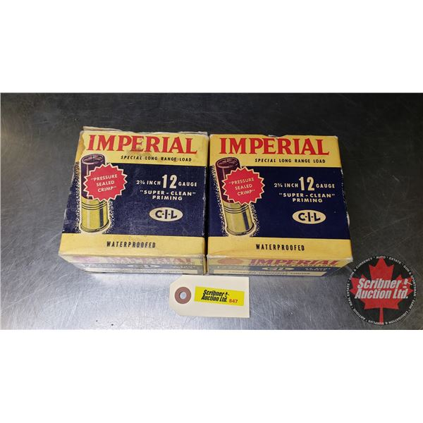 """AMMO: CIL Imperial 12ga (2-3/4"""") Shotshells (2 Boxes = 50 Rnds)  (NOTE: This is Vintage Ammunition)"""