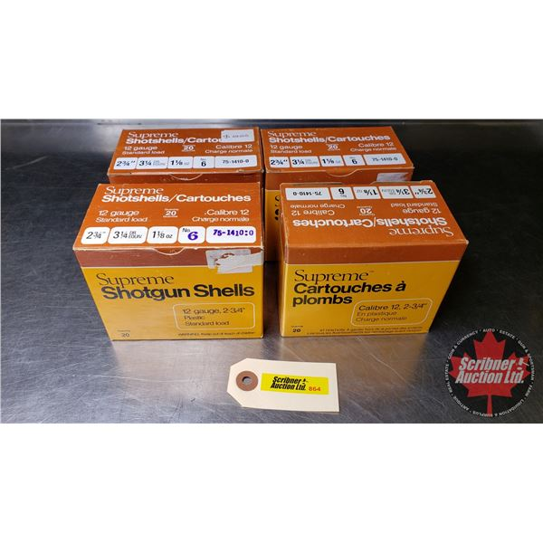 "AMMO: Supreme Shotshells 12ga (2-3/4"") 1-1/8oz #6 Shot (4 Boxes = 80 Rnds)"