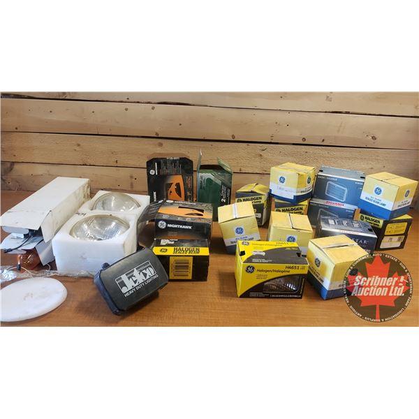 Box Lot: Sealed Beam Headlights & Tractor Lights