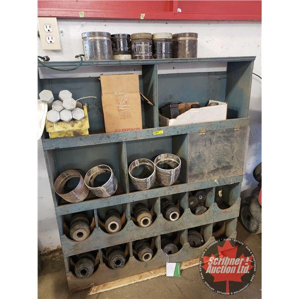 "Wooden Shop Cabinet w/Contents (Bushings, Bolts, Couplings, etc) (42""H x 37""W x 8""D)"