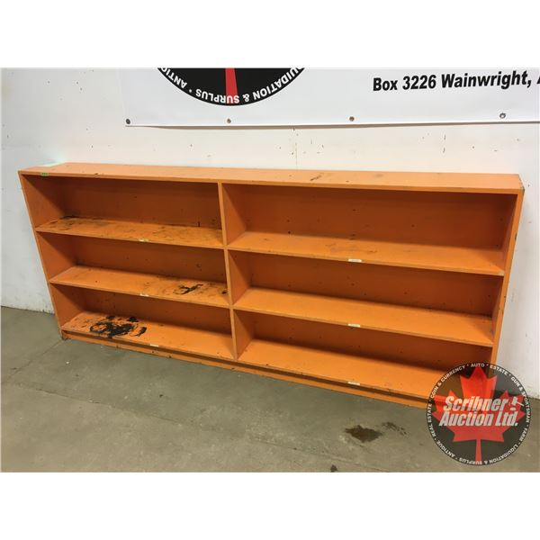 """Plywood Shelving Unit (Painted Orange) (42""""H x 97""""W x 10""""D)"""