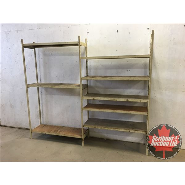 "Adjustable Metal/Plywood Shelving (86""H x 100""W x 16""D)"