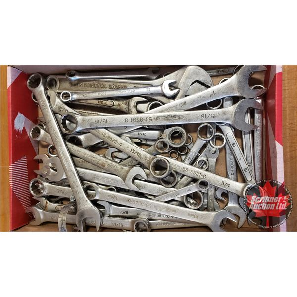 Tray Lot: Flat Wrenches (Variety Metric & SAE)
