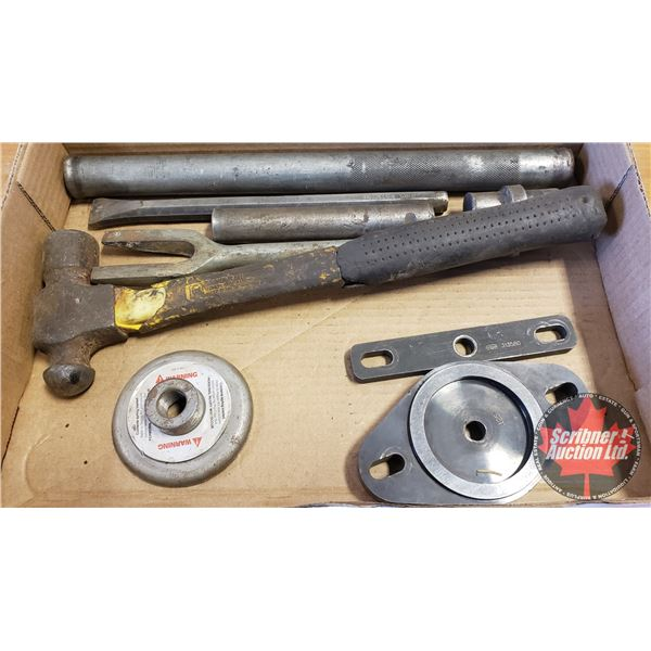 Tray Lot: OTC Transmission Counter Shaft Shim Tool, Ball Peen Hammer, Ball Joint Separator, etc
