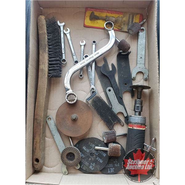 Tray Lot: Variety Tools (SNAP ON Off Set Box Wrench, IR Die Grinder, Wire Brush, etc)