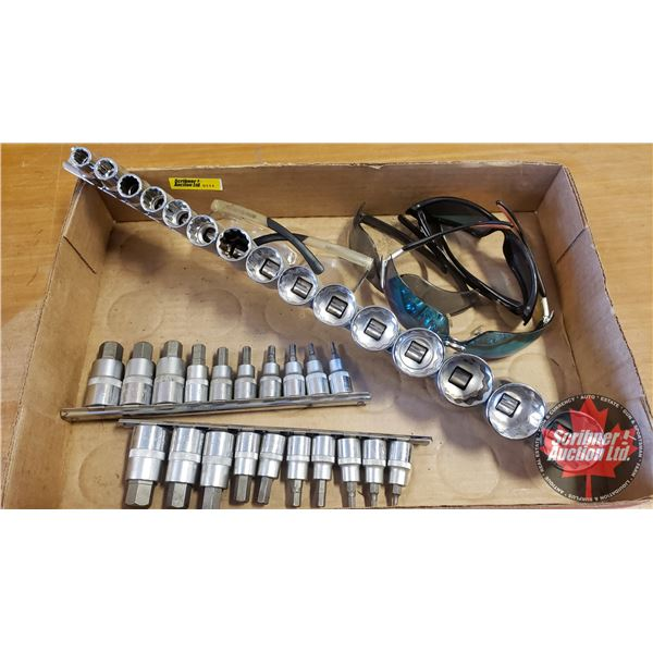 Tray Lot: JET Hex Bit sockets, 12 Point Socket Set SAE & 4 Pair Sunglasses