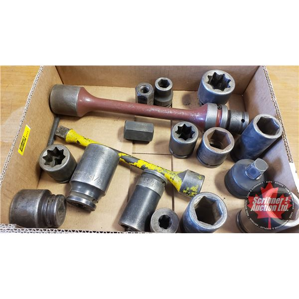 """Tray Lot: 3/4"""" Drive Impact Sockets, Extensions, 1"""" Adaptor, Inverted Torx etc"""
