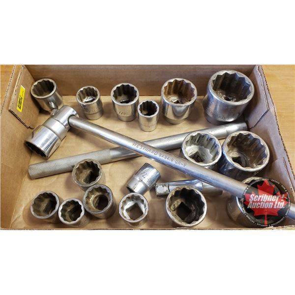 """Tray Lot: 3/4"""" Drive Sockets, Swing Arm, Extension"""