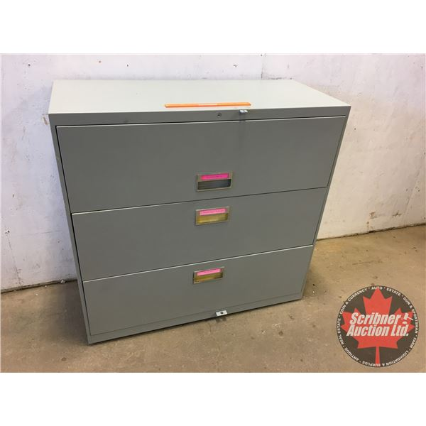 """Lateral 3 Drawer Filing Cabinet (Steel) (40""""H x 42""""W x 18""""D)"""