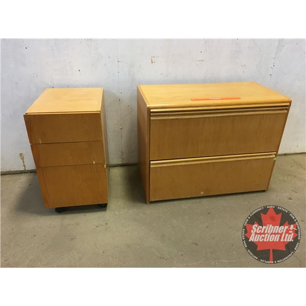 """Wooden Office Furniture : 2 Drawer Lateral Cabinet (No Key) (28""""H x 36""""W x 19""""D) & Rolling Bank of D"""