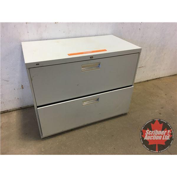 "2 Drawer Lateral Filing Cabinet (Metal) (No Key) (Top Drawer Locked) (28""H x 36""W x 19""D)"