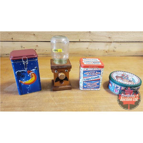Novelty Tins (3) & Wooden Candy Dispenser