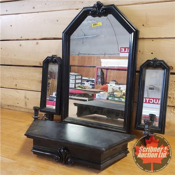 """Home Décor Mirror/Shelf Set (Plastic) (Middle Mirror Measures: 23""""H x 14""""W)"""