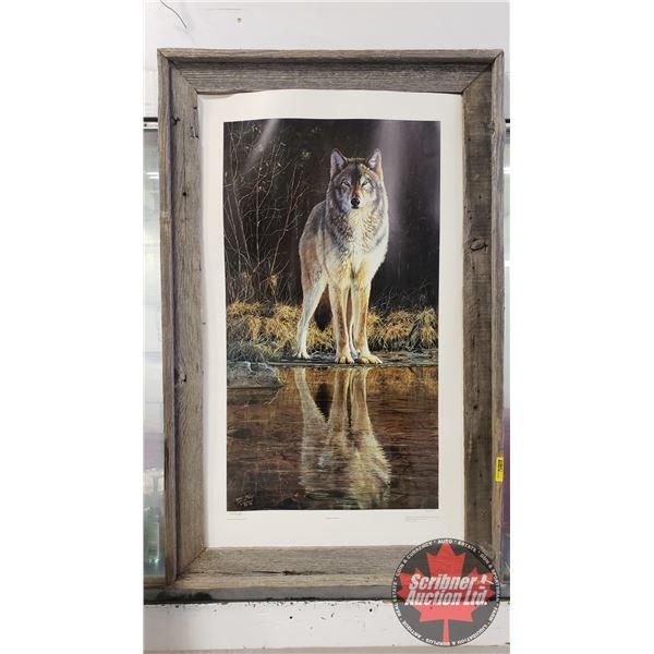 """Framed Print """"Wolf Creek"""" by Desmond McCaffrey - Limited Edition (42/450) Barn Board Frame (39""""H x 2"""