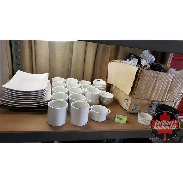 Shelf Lot: Restaurant ware - Assorted (Ramekins, Serving ware, Platter, Plates, etc) See Pics!