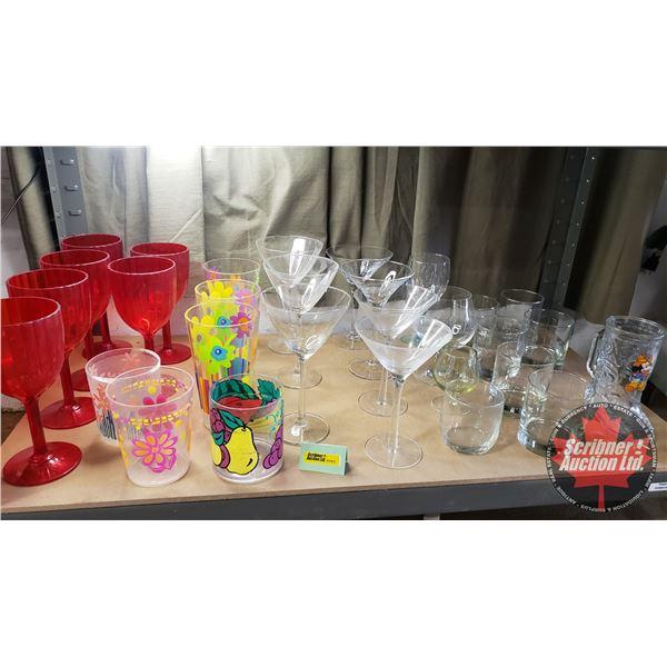 Shelf Lot: Variety of Glasses / Tumblers (Assortment styles / colors) Glass & Plastic