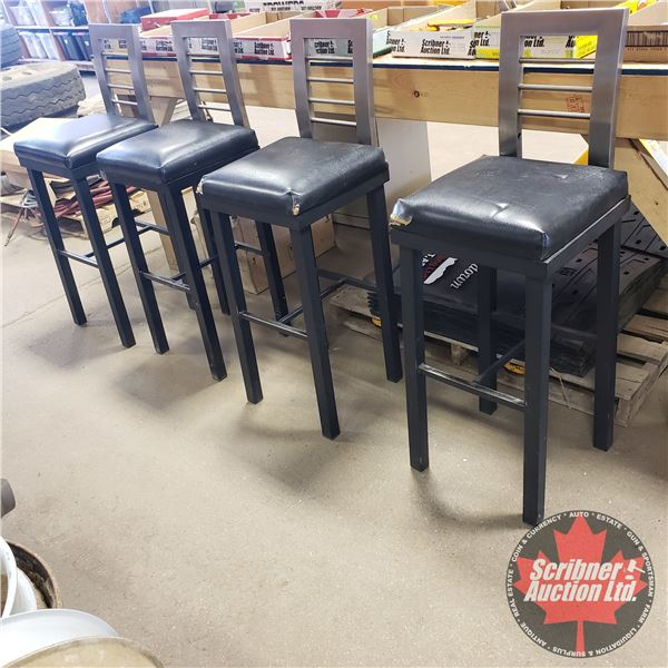 """Heavy Duty Bar Chairs (7) (Metal) (Needs some upholstery repairs) (43-1/2""""H Total)"""