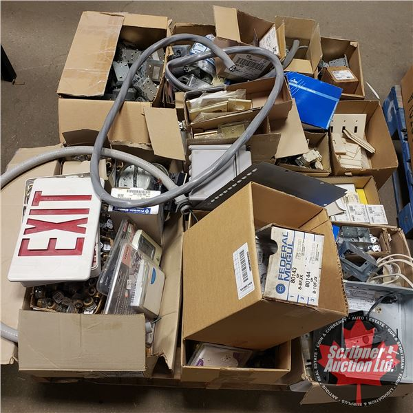 """Pallet Lot: New Surplus """"Electrical"""" Contractor Bulk Buy! (Light Switches, Switch Covers, Power Mete"""