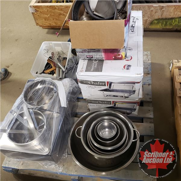 Pallet Lot: Restaurant Equipment (Mixing Bowls, Electric Warmers, Chafers, Utensils, etc!) (See Pics