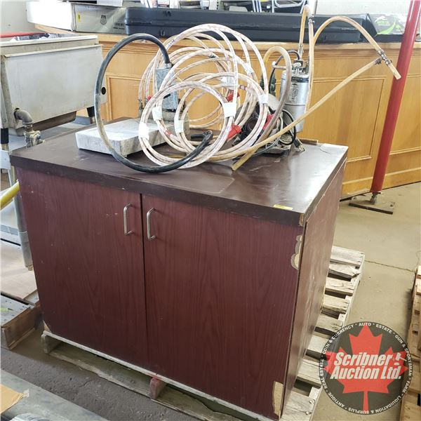 Liquor & Mix Distribution System with Cabinet (w/Pumps, Canisters, Dispensing Handles, etc) (Cabinet