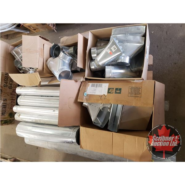 Pallet Lot: New Old Stock : Heat/Vent Galvanized Ducting - Variety - Contractor Bulk Buy (See Pics!)
