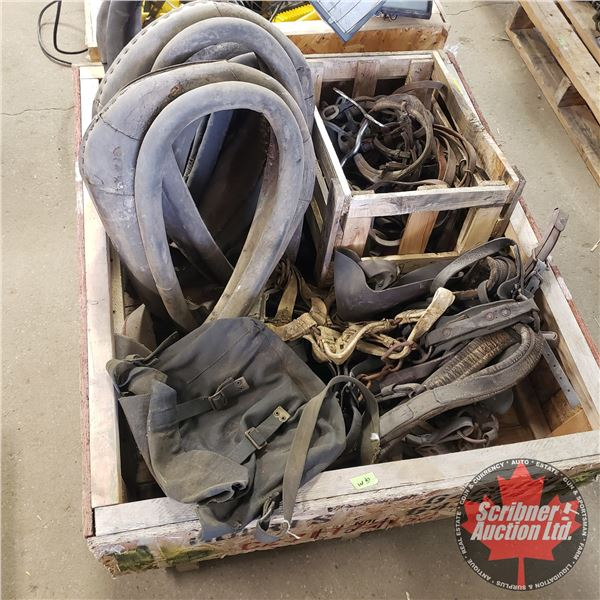 Crate Lot: Old Harness Items (Incl: 4 Collars)