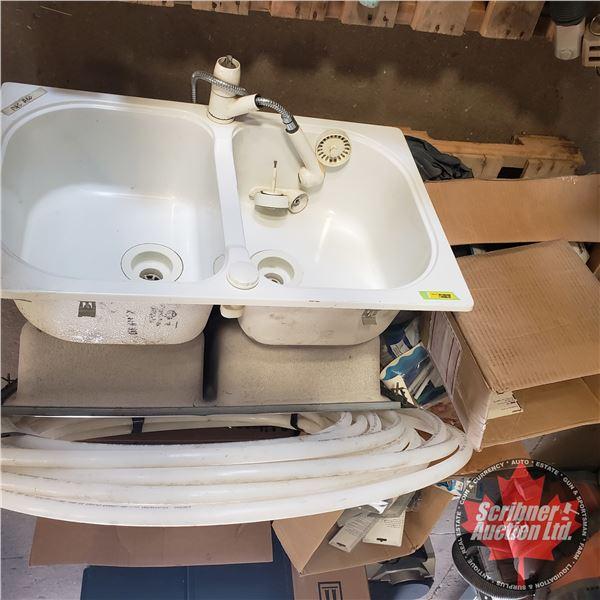 "Pallet Lot: Plumbers Bulk Buy (2 Sinks, 3/4"" Pex Pipe, Copper Fittings, Lint Traps, Valves, Tank Bal"
