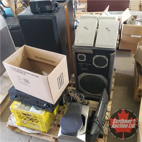 Pallet Lot: Stereo Equip (Speakers, Amps, DVD Players, etc) See Pics!