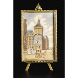 Swiss Desk Clock with Ivory Miniature Painting