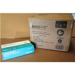 Qty 1 Box (10 Packs) Brioppe Disposable Nitrile Exam Gloves Sz L (100 Gloves/Pack)