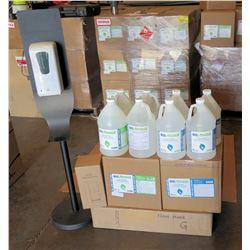 Touchless Auto Dispenser, Floor Stand & 8 qty 1-Gal Bottles Sanitizer 80%Liq/70%Gel