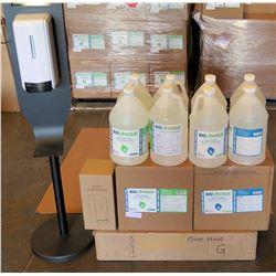 Hand Sanitizer Dispenser, Floor Stand & 8 qty 1-Gal Bottles Sanitizer 80%Liq/70%Gel