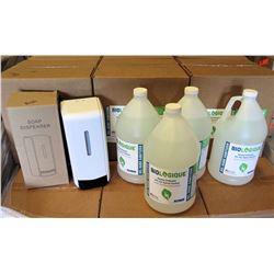 Hand Sanitizer Dispenser & 4 Gallons Sanitizer Gel 70% Alcohol