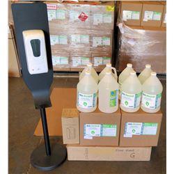 Touchless Auto Dispenser, Floor Stand & 8 Gal Bottles Sanitizer 70%Gel