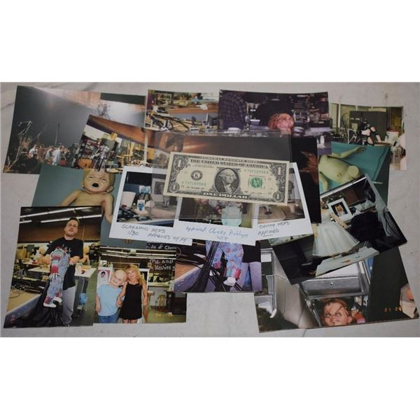 ZZ-CLEARANCE BRIDE OF CHUCKY BTS PHOTOS W/ ORIGINAL POLAROIDS OF FINAL DESIGNS W/ KEVIN YAHGER NOTE