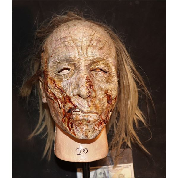ARMY OF THE DEAD SCREEN USED LATEX FACE MASK WITH WIG 1