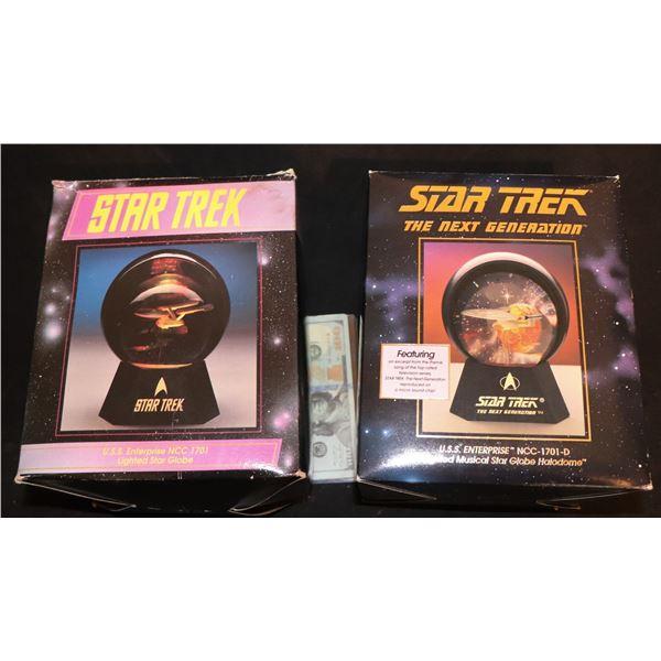 STAR TREK LIGHTED ENTERPRISE GLOBES LOT OF 2 IN BOXES
