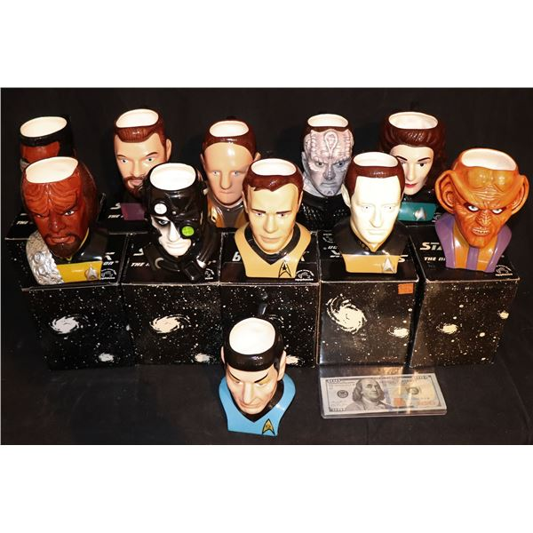 STAR TREK APPLAUSE FIGURAL COFFEE MUG COLLECTION OF 12 IN BOXES