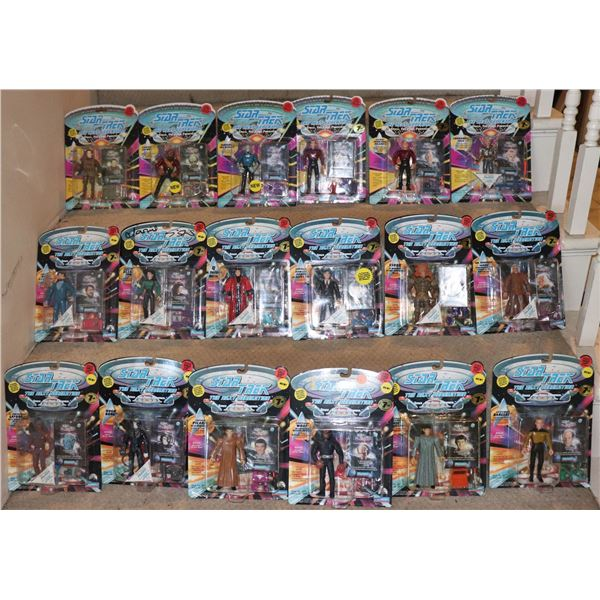 STAR TREK TNG ACTION FIGURES PLAYMATES RED DOT LOT OF 18 W/ 9 VARIANTS SOME UNPUNCHED