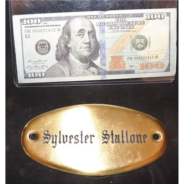 THE EXPENDABLES 1 2 3 SYLVESTER STALLONE ETCHED BRASS NAMEPLATE FROM TRAILER