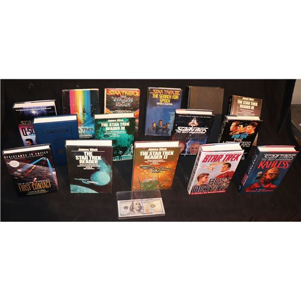 STAR TREK FIRST EDITION HARD COVER BOOKS LOT OF 15 WITH EXTRAS
