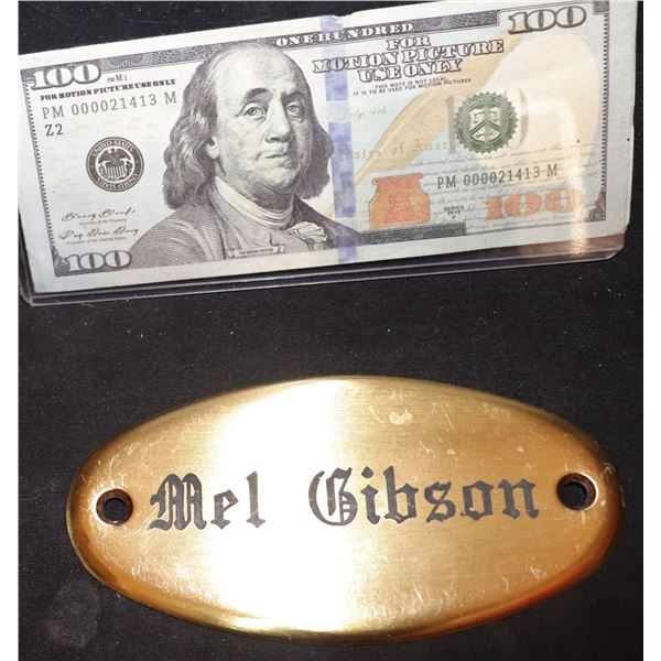 THE EXPENDABLES 3 MEL GIBSON ETCHED BRASS NAMEPLATE FROM TRAILER