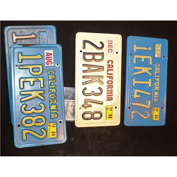LICENSE PLATES FROM 80's OR PERIOD FILMS USED IN SEVERAL PRODUCTIONS