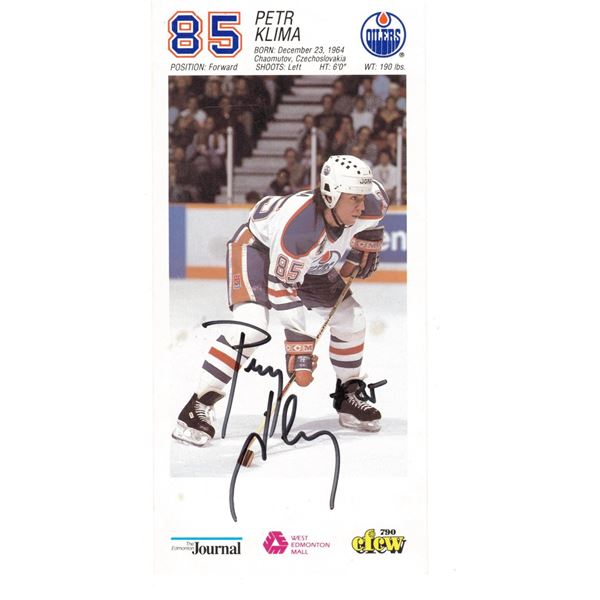 """Signed with Marker Petr Kilma #85 Edmonton Oilers Information Card size 3.75"""" x 8"""""""